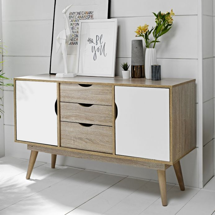Scandi style 2 door sideboard in white & oak